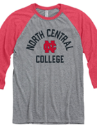 Image for the North Central College Tri-Blend Baseball Raglan 3/4 sleeve product
