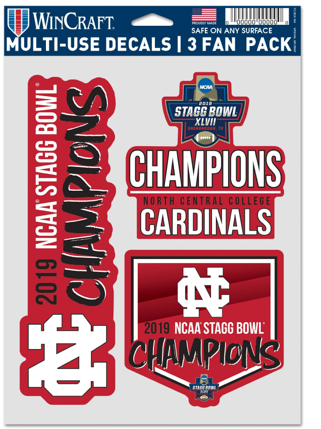 Image for the North Central College Championship Decals Choose 3 pack or 4x4 product
