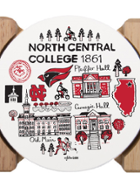 Image for the North Central College Julia Gash 4 pack round Coasters and holder product