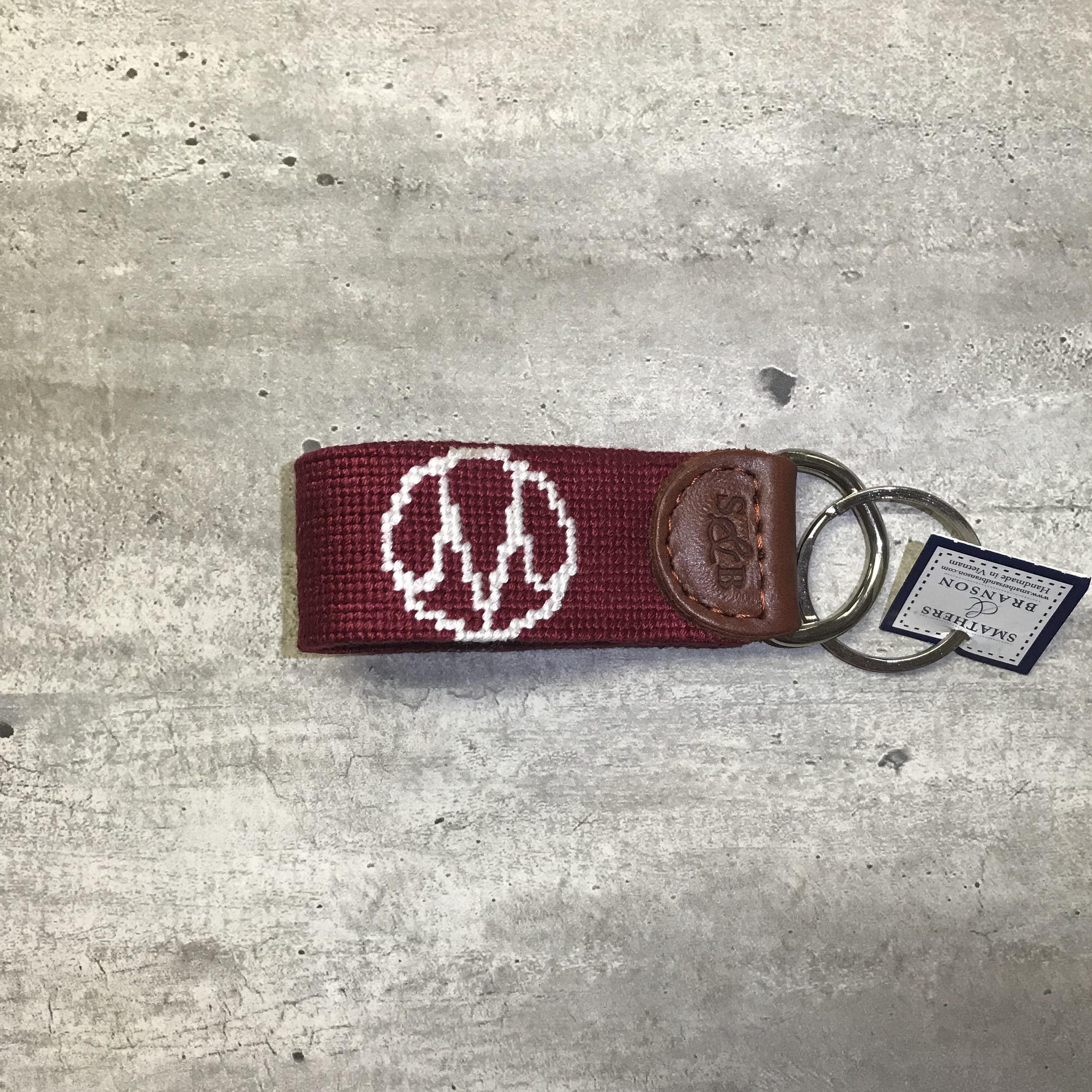 Image for the Smathers and Branson Needlepoint Key Fob, Back Gate M Design product