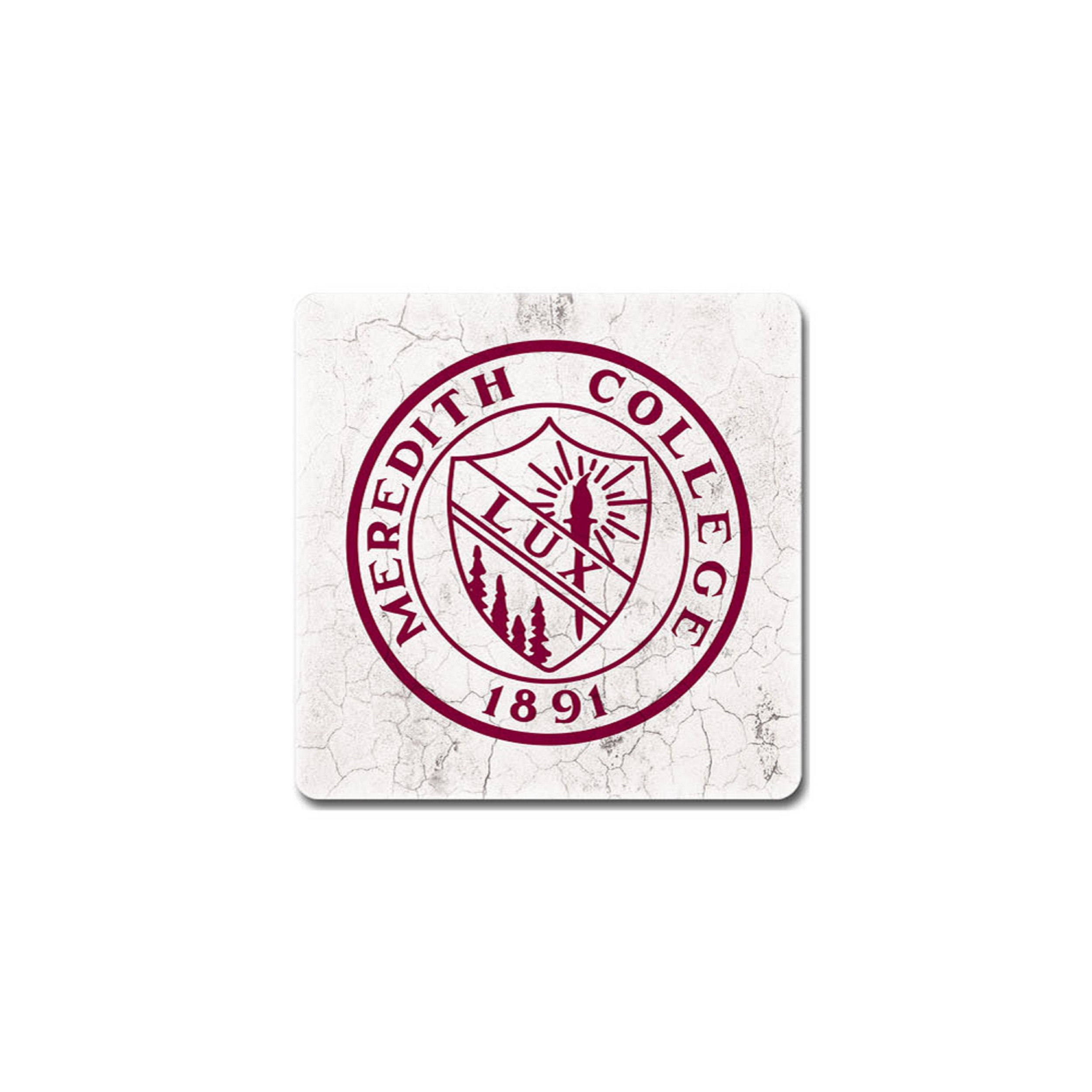 Image for the Single Coaster, White Background w/ Maroon Seal product
