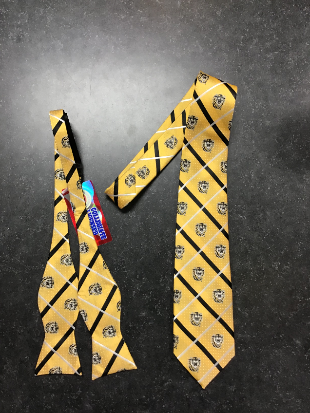 Image for the FHSU Woven Poly Tie/Bow Tie, Black and Gold, Jardine product
