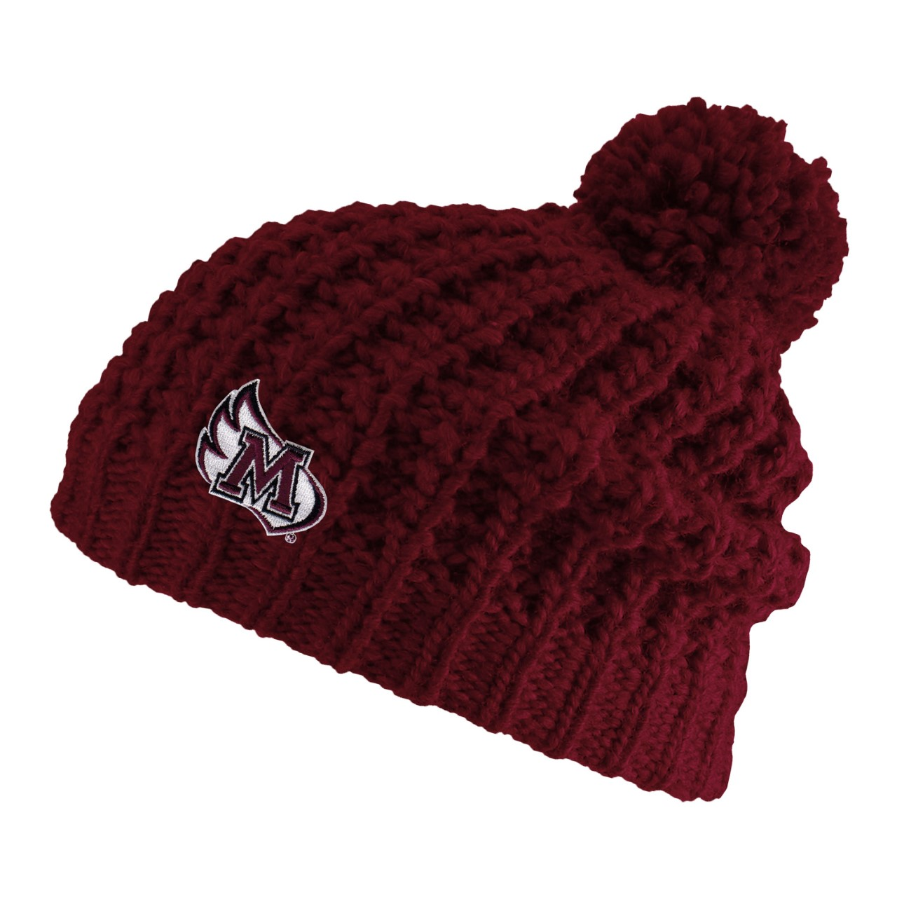 Image for the Chunky Knit Hat w/ Pom, Burgundy product