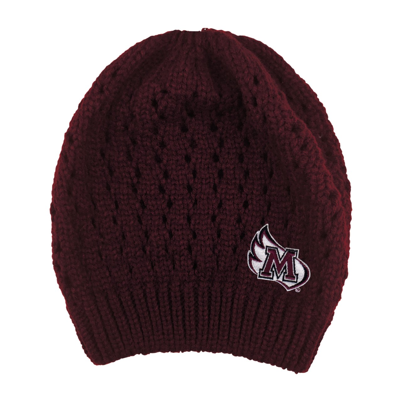 Image for the Open Knit Hat w/ Bun Opening, Burgundy product