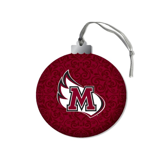 Image for the Round Ornament, Maroon with M-Wing product