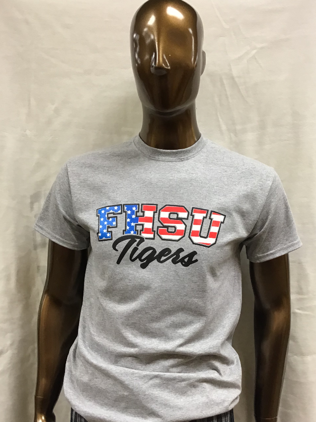 Image for the Patriotic FHSU Tee; SS; Hays Tee's product