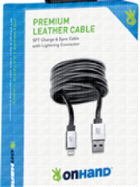 Image for the OnHand Charge and Sync Cable with Lightening Connector, 5ft, Black Leather product