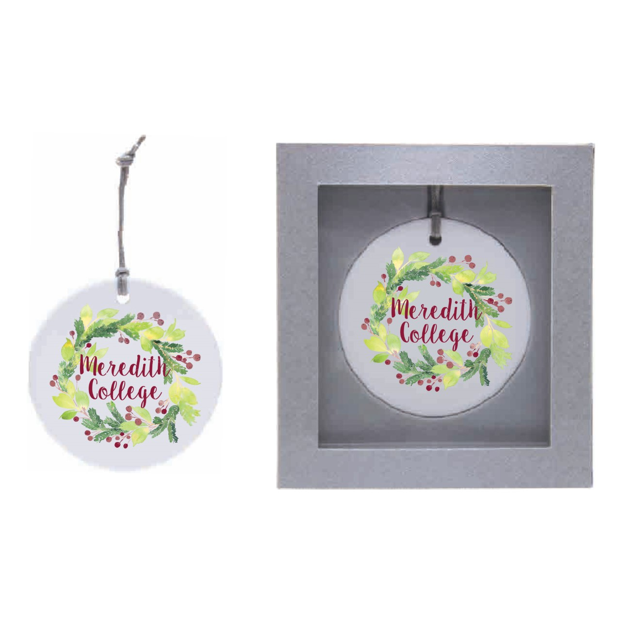 Image for the Ceramic Circle Ornament, Wreath with Meredith College product