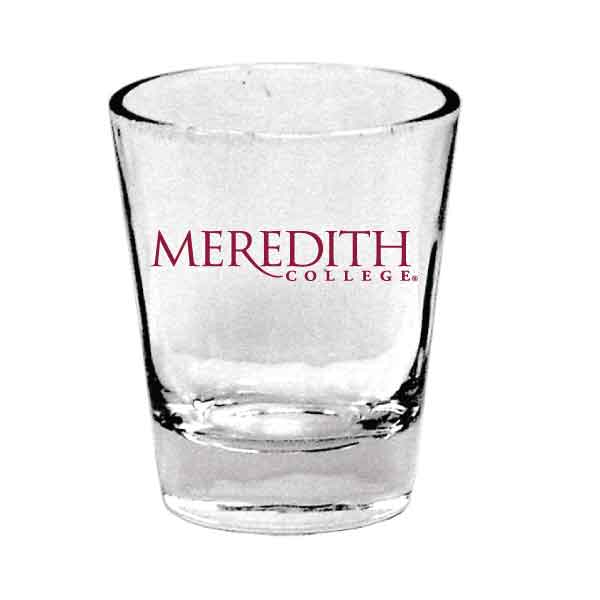 Image for the Shot Glass, Clear, Meredith College Logo product