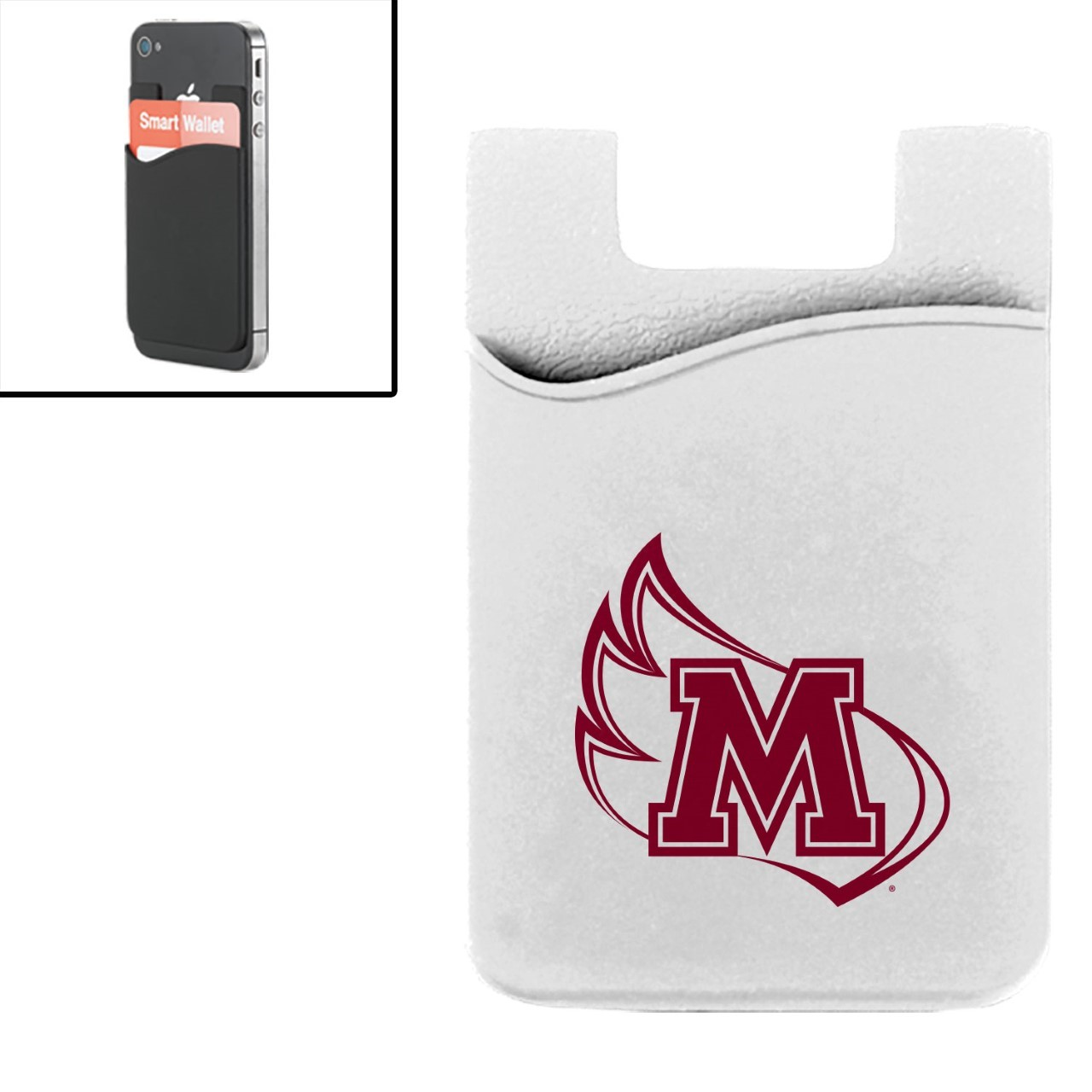 Image for the White Media Wallet with Maroon M-Wing product