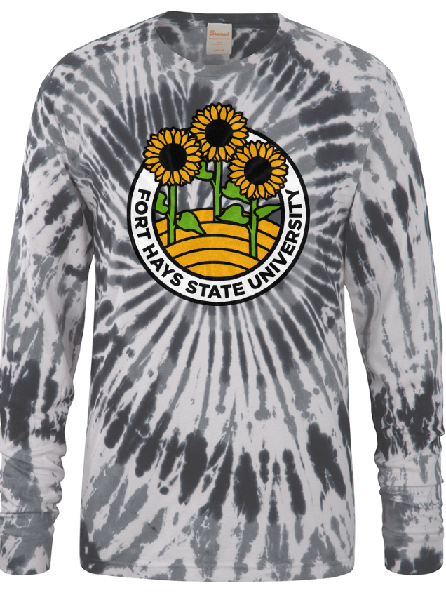 Image for the Spiral Ringspun Cotton, Black Spiral Wash, Tie Dye, Long Sleeve product