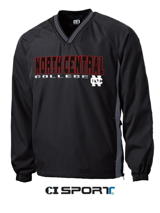 Alternative Image for the North Central College Tipped Vneck Raglan Windshirt by CI Sports product