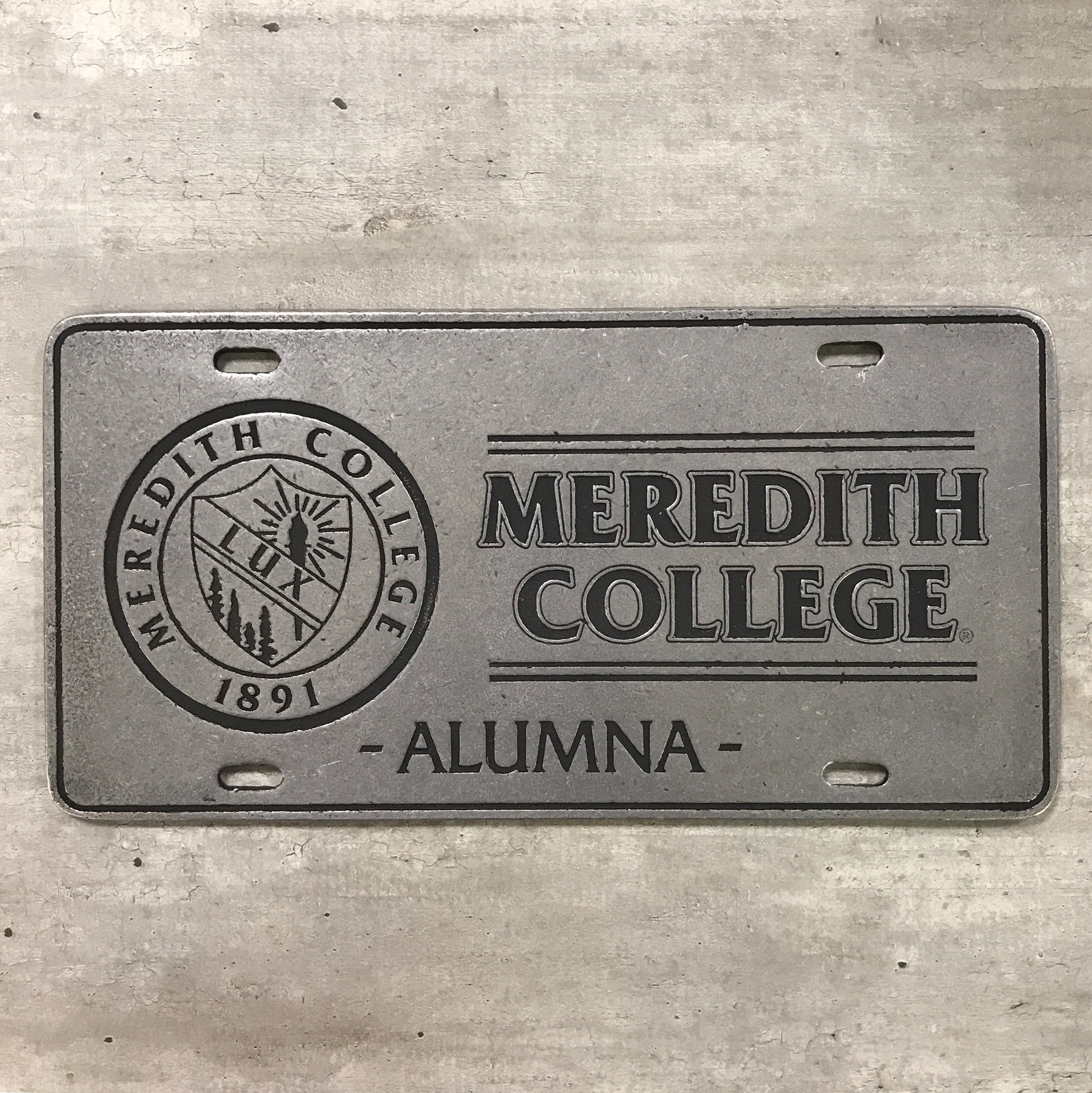 Alternative Image for the License Plate, Meredith College Alumna + Seal, Metal product