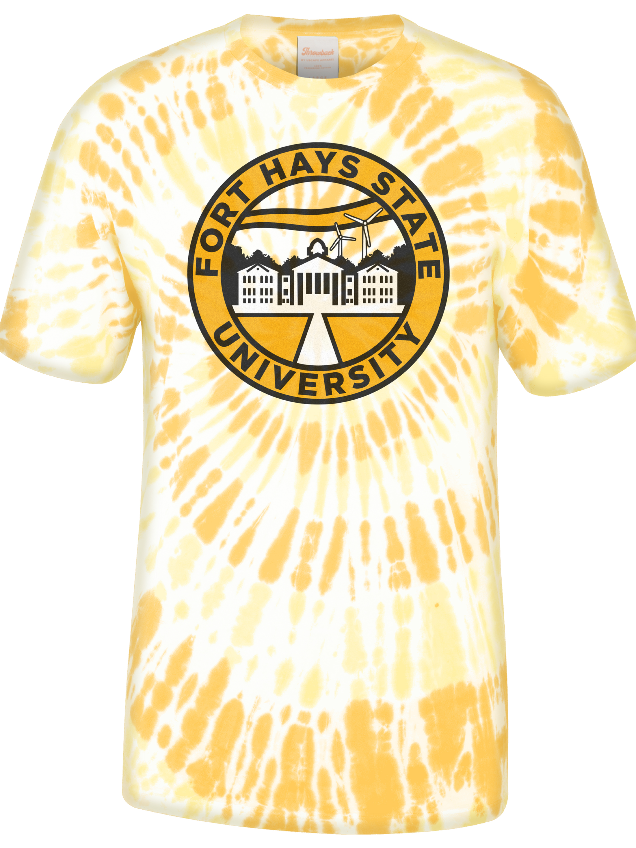 Image for the Spiral Ringspun Cotton, Custom Gold Spiral Wash, Tie Dye, Geographical Insignia, Short Sleeve product